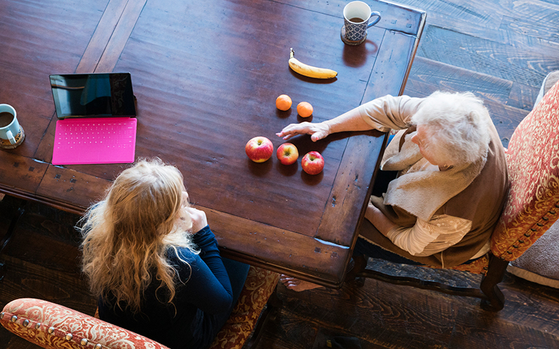 Speech Therapy with fruits on the table